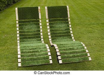 椅子, 草, 綠色