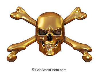 Golden Skull and Crossbones - Solid gold skull crossbones -...