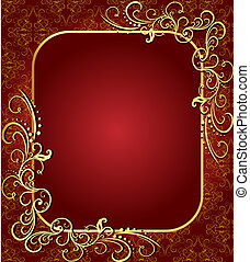 brown background with frame with goldenen sample -...