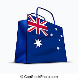 Australian shopping symbol represented by a bag with the...