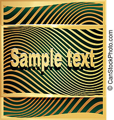 illustration gold(en) abstract background to technologies with wave on green