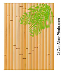 Bamboo and Palms - A background of a bamboo fence with palm...