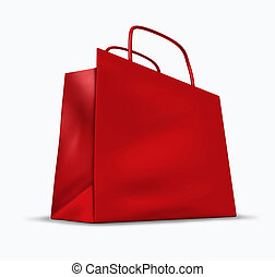 Red Shopping Bag - Red shopping bag with blank packaging...