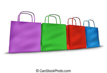 compras, Bolsas, en, Un, fila