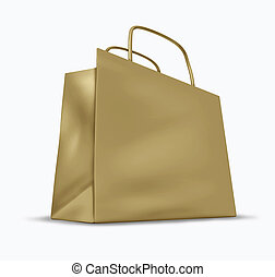 Brown Paper Shopping Bag - Brown bag with blank packaging...