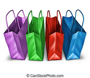 abertos, shopping, sacolas, topo, vista