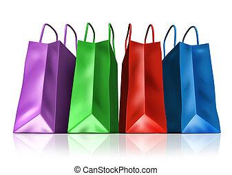 compras, Bolsas, frente, vista