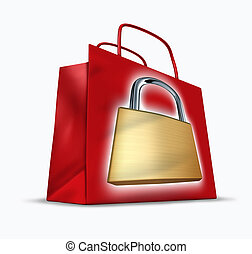 Secure shopping representing the concept of a red shopper...