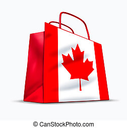 Canadian shopping symbol represented by a bag with the maple...