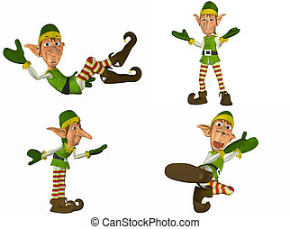Christmas Elf Pack - 1of2 - Illustration of a pack of four...