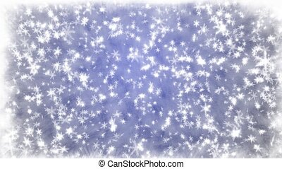 Snowfall on a blue background - Snowflakes.