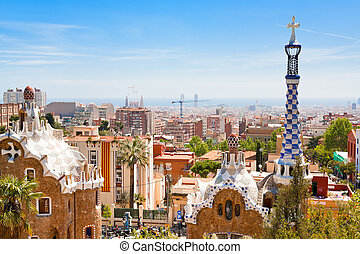 panorama of Barcelona city from Park Guell - BARCELONA,...