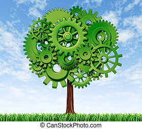 Economy Tree - Business tree made of green gears and cogs on...