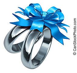 boda, anillos, con, azul, regalo, arco