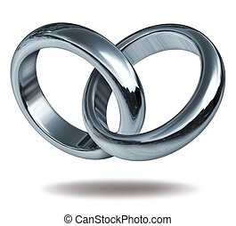 amor, anillos, ligado, en, Un, corazón, forma