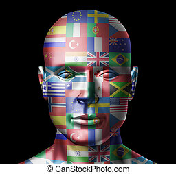 World flags face representing global countries from around...