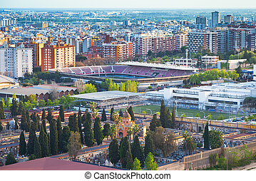 view on  cemetery and fields of football stadium in Barcelona