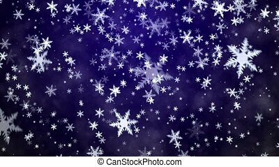 Snowfall on a blue background - Snowfall on dark blue...
