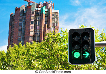 building construction and green light signal