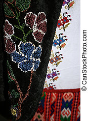 Traditional Romanian folk costume.Detail 12 - Old...