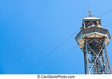 Port Vell Aerial Tramway in Barcelona - tower of Port Vell...