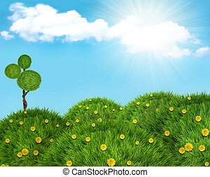 Nature landscape background with green grass hills and sun....