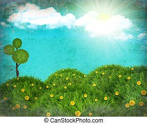 Grunge, Natura, krajobraz, collage, zielony, trawa,...