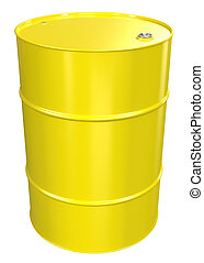 Oil Barrel - Yellow Oil Barrel, Metal Lid Isolated