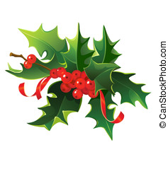Mistletoe. - Christmas mistletoe bouquet with berries and...