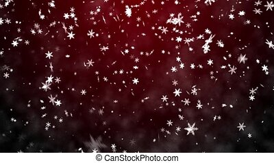 Snowfall on a red background - Christmas background with...