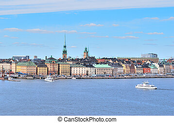 Stockholm, Old Town - Stockholm. View of the Old Town from...