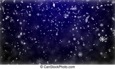 Snowfall on darkly blue background
