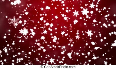 Snowfall on darkly red background