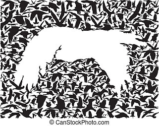 Backgrounds of flying birds - many birds flying in the sky...