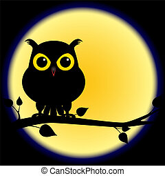 Silhouette of owl on branch with full moon - Dark shadow...