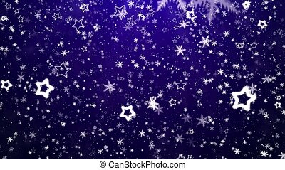 Snowflakes and stars - Falling snow
