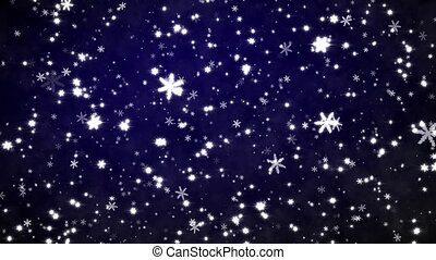 New Year's frosty background - Snowfall on darkly dark blue...