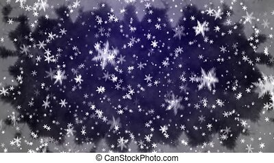 Snowfall on darkly blue background - Falling snow