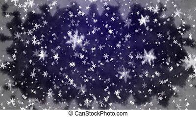 Snowfall on darkly blue background