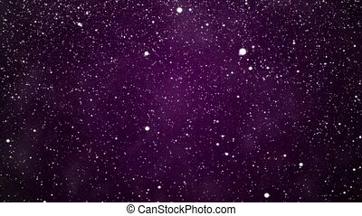 Snowfall on a lilac background