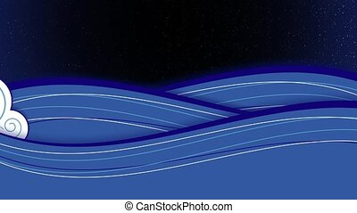 Moon Rise - Animation of stylized drawn sea with waves with...