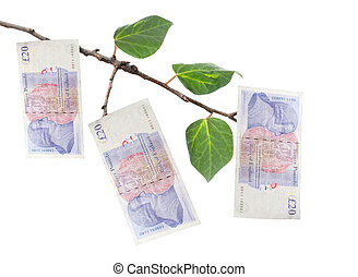Money tree - British twenty pound notes hanging off a tree...