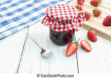 Strawberry jam - Traditional homemade jam and strawberries