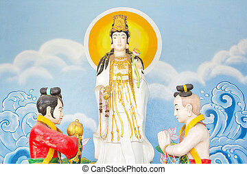 Kuan Yin  paint image of buddha  in a thai temple.