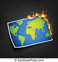 Global Warming - illustration of burning photo of earth...