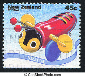 Buzzy Bee Toy - NEW ZEALAND - CIRCA 1994: stamp printed by...
