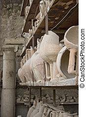Ancient Stone Vases on Shelf