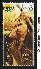 Lord of Rings Legolas - NEW ZEALAND - CIRCA 2001: stamp...