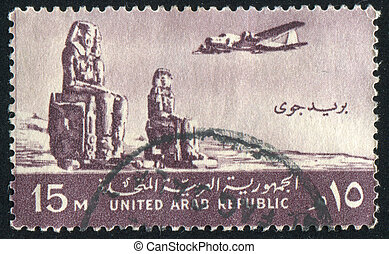 Colossi of Memnon - EGYPT - CIRCA 1959: stamp printed by...