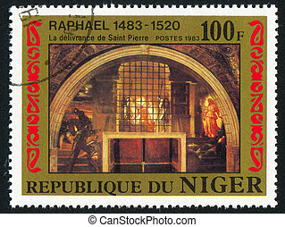 Deliverance of St Peter - NIGER - CIRCA 1983: stamp printed...